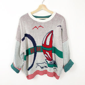 VTG Oversized Sailing Graphic Sweater